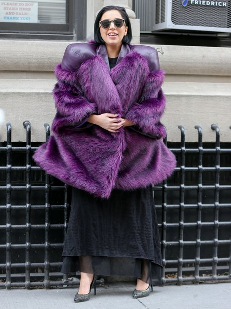 Lady Gaga purple coat