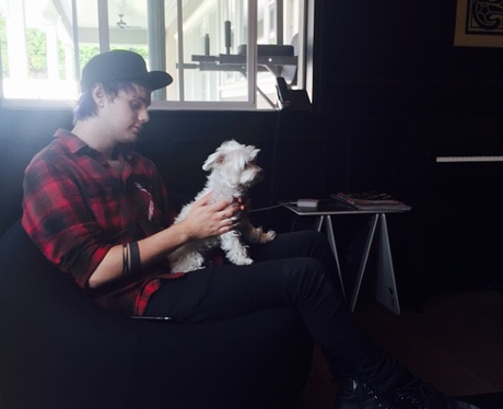Michael Clifford with his Dog