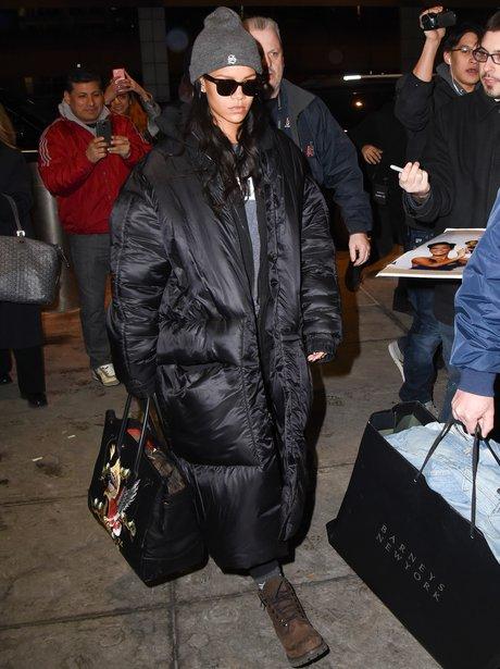 Rihanna wearing a puffa jacket