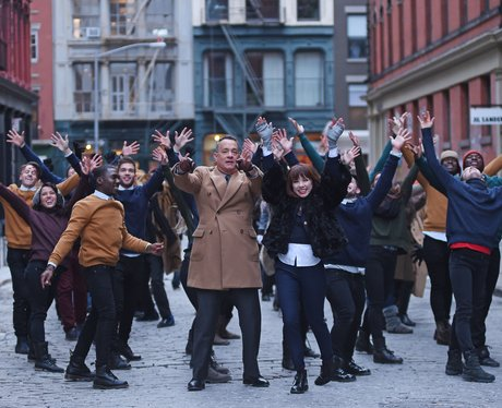 Tom Hanks and Carly Rae Jepsen filming commercial