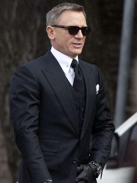 Daniel Craig on set filming Bond