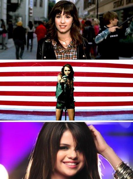 Demi Lovato, Miley Cyrus and Selena Gomez