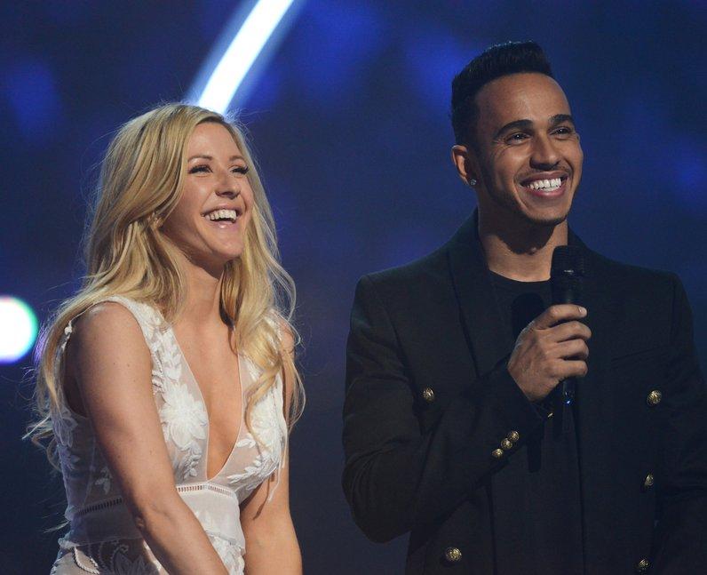 Ellie Goulding and Lewis Hamilton BRIT Awards 2015