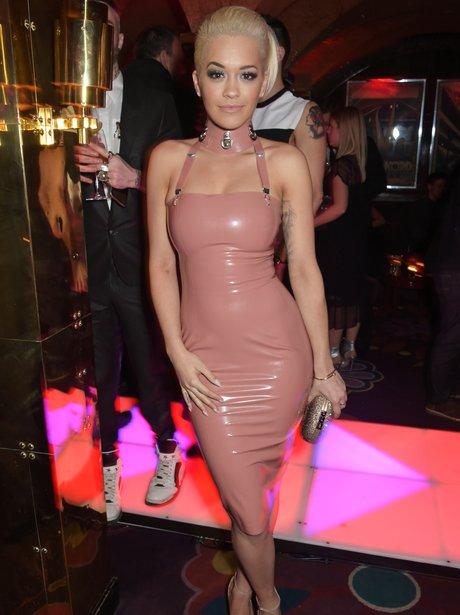 Rita Ora wearing a rubber dress