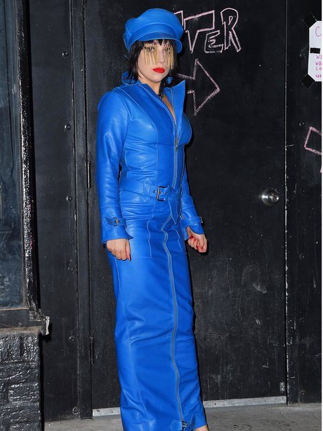 Lady Gaga wearing blue leather