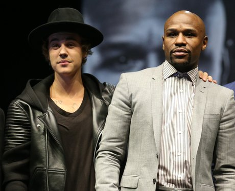 Justin Bieber appears on stage with Floyd Maywea
