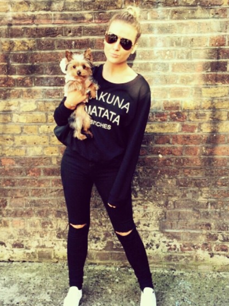 Perrie Edwards and dog