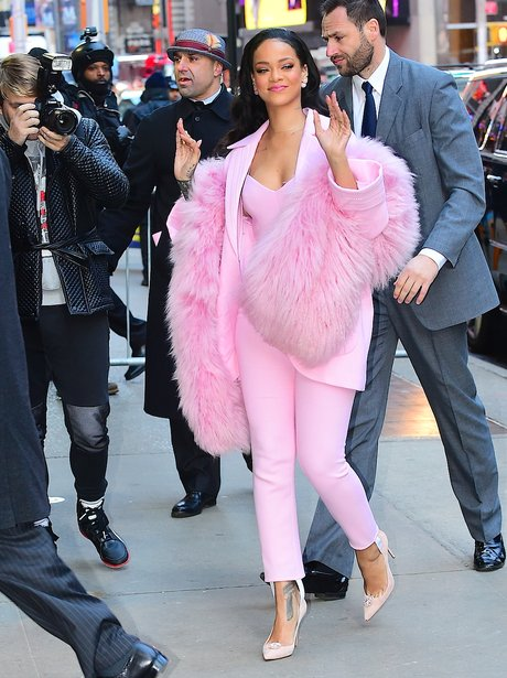 Rihanna pink outfit on Good Morning America