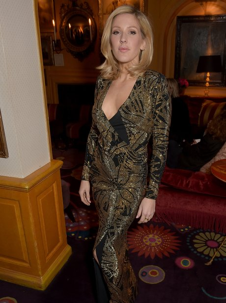Ellie Goulding Gold Dress Short Hair