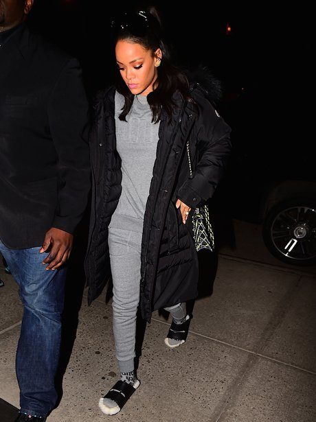 Rihanna wearing socks and slippers
