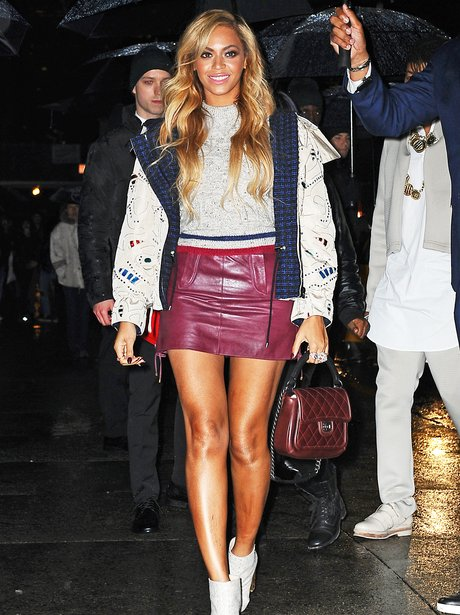 Beyonce wearing a leather skirt