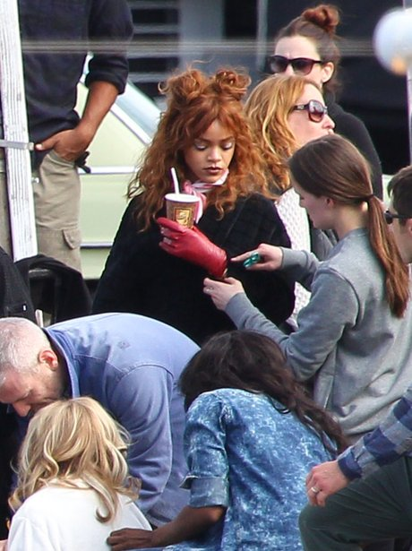 Rihanna on set for new video