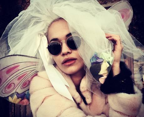 Rita Ora wearing a wedding veil