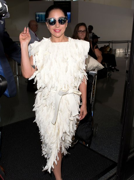 Lady Gaga Feather Dress