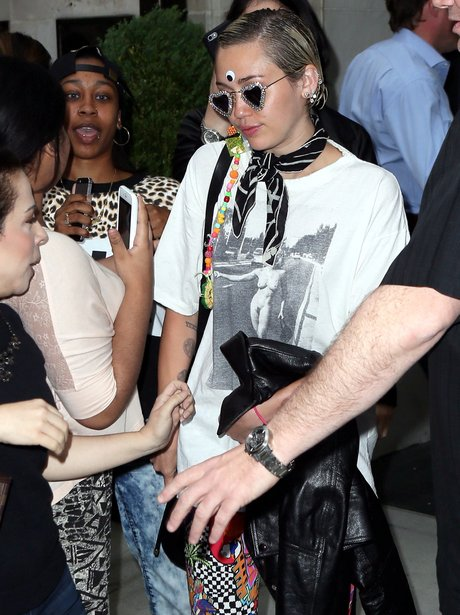 Miley Cyrus Wearing Naked Madonna T Shirt