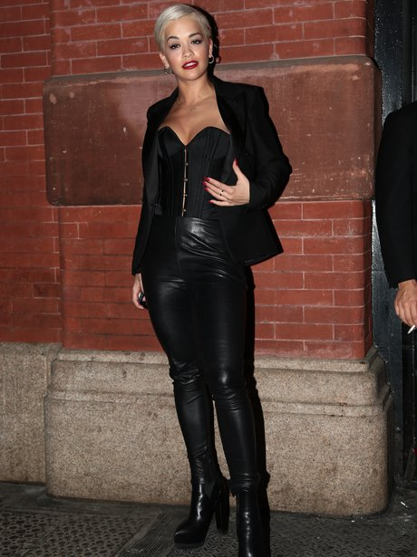 Rita Ora Leather Catsuit