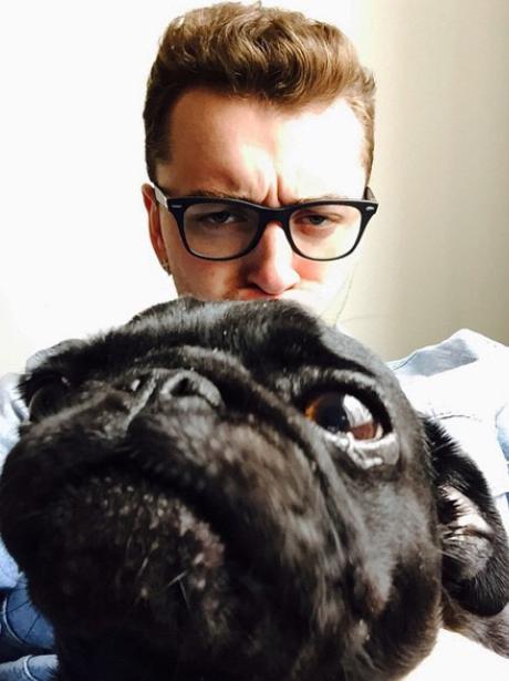 Sam Smith and a dog