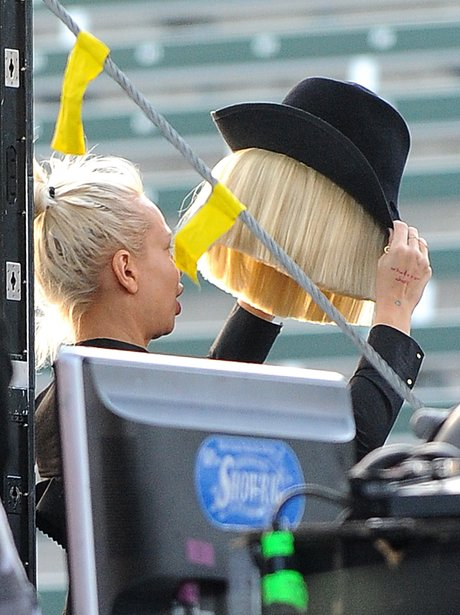 Sia is pictured without her wig
