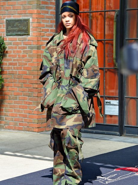 Rihanna wearing a camoflauge outfit