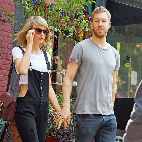 Taylor Swift holding hands with Calvin Harris