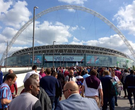 Villa fans gather ahead of the FA Cup final