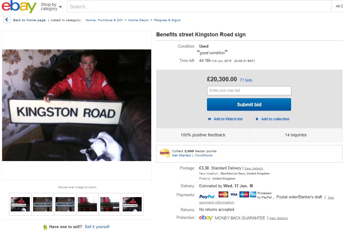 Kingston road sign ebay