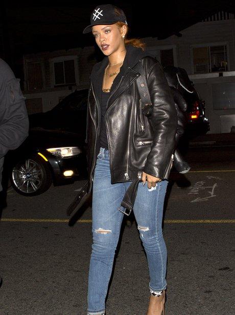 Rihanna Leather Jacket Ripped Jeans