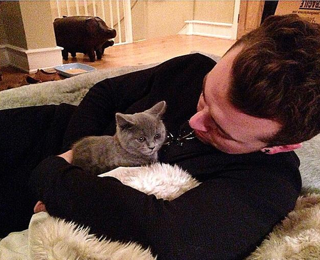 Sam Smith with a cat