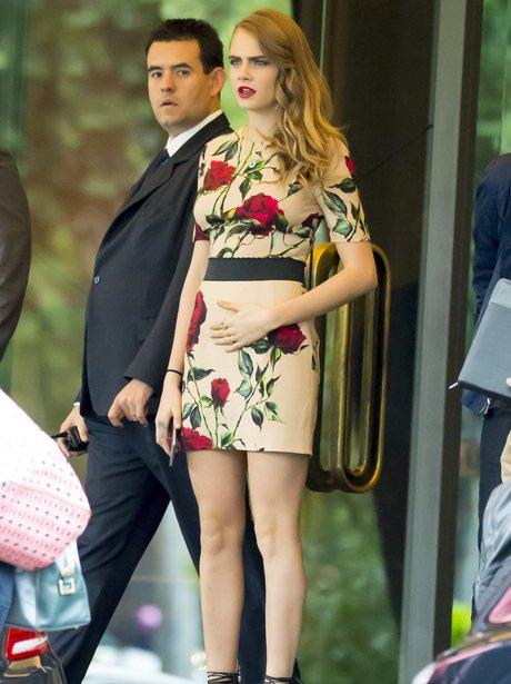 Cara Delevigne wears floral dress