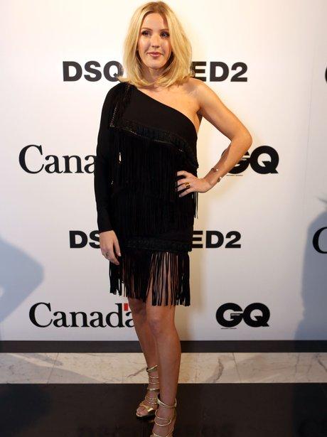 Ellie Goulding wearing a black dress