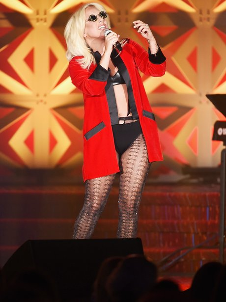 Lady Gaga wearing fishnet tights
