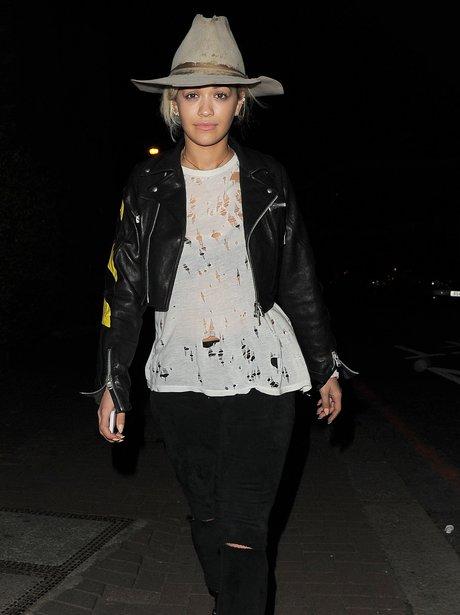 Rita Ora wearing a hat