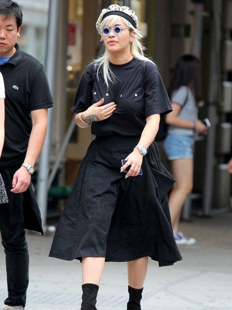 Rita Ora in New York wearing weird sunglasses