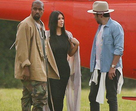 Kanye West and Kim Kardashian Glastonbury Helicopt