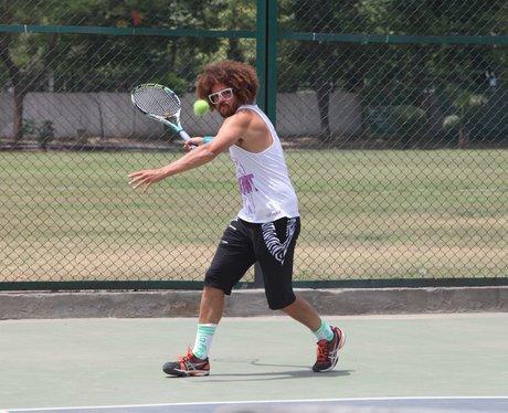Redfoo playing tennis
