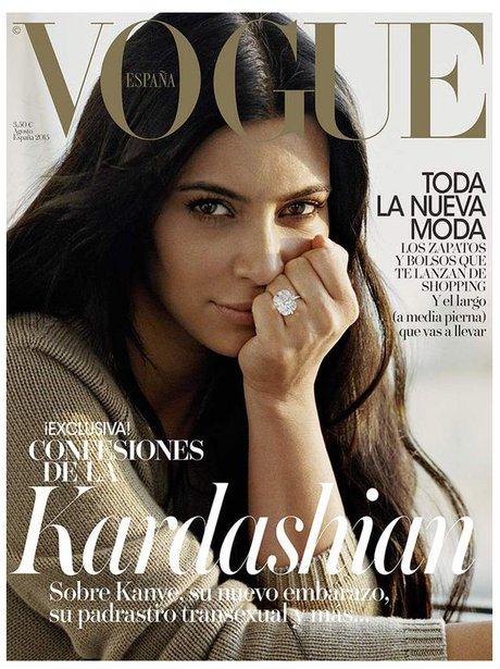 Kim Kardashian Vogue Spain 2015 No Make Up