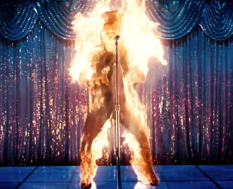 The Weeknd on fire in his music video