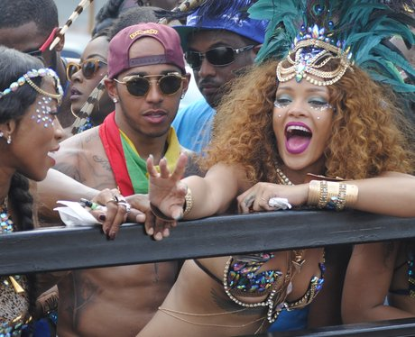 Lewis Hamilton and Rihanna pictured together at Barbados carnival
