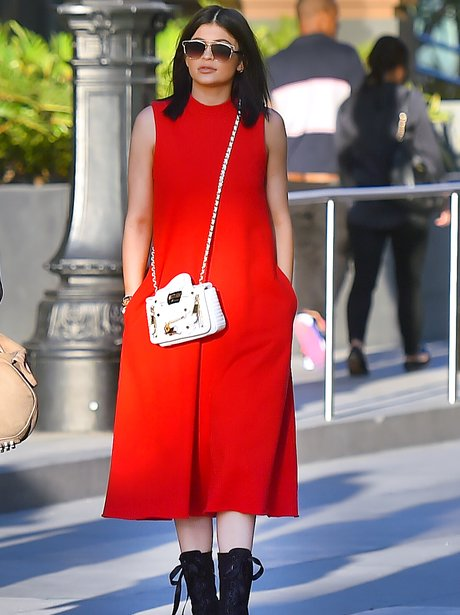 Kylei Jenner in a red dress