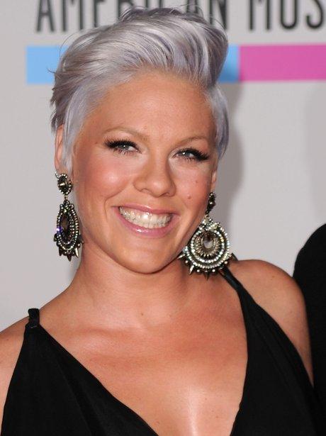 Pink wiht silver hair