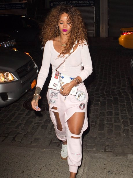Rihanna wearing cut out trousers