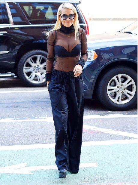 Rita Ora wearing a sheer top