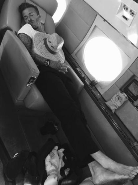 David Beckham asleep plane Instagram