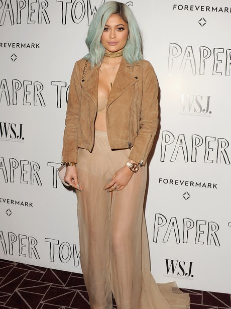 Kylie Jenner Nude Outfit Blue Hair