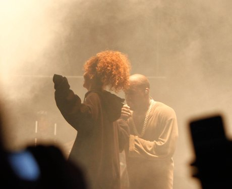Rihanna performs with Kanye West at FYF Fest 2015