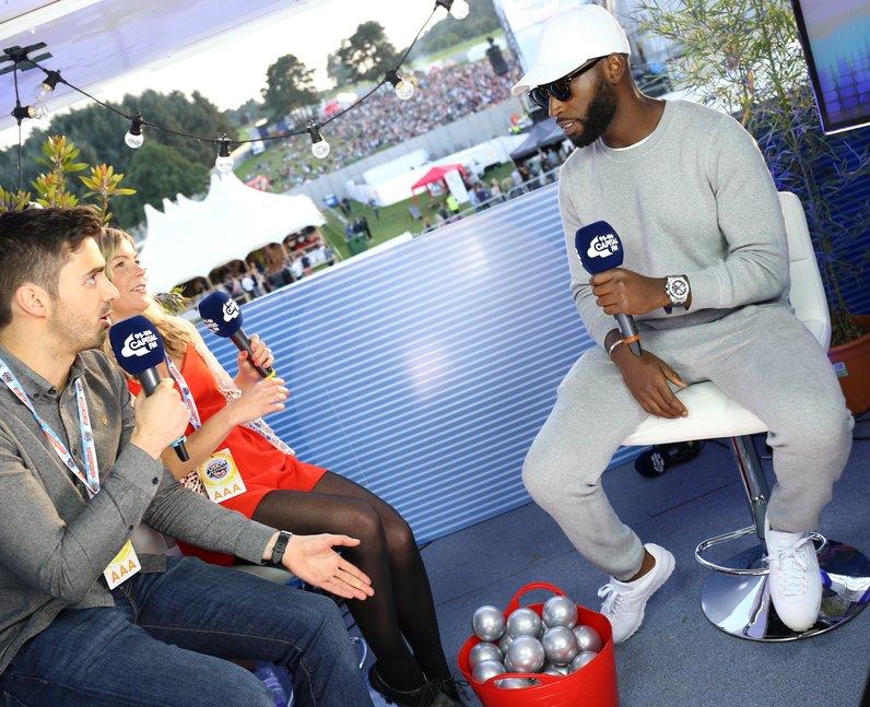Tinie Tempah chats to Rob & Katy backstage at Fusi