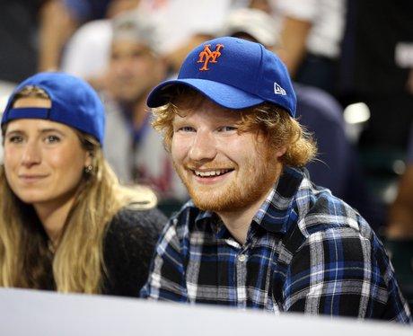 Ed Sheeran watching basketball