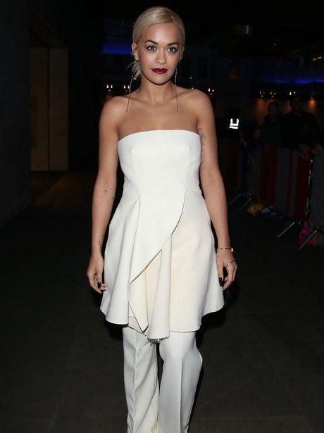 Rita Ora wearing a white outfit