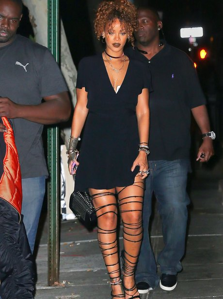 Rihanna in strapy heels