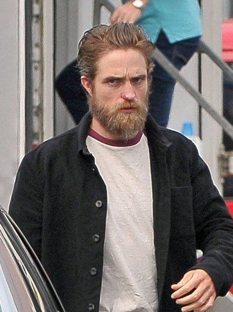 Robert Pattinson on set with beard